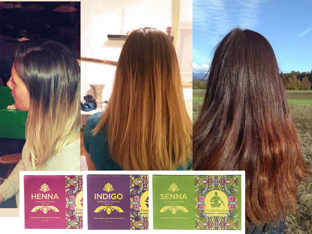 Naravna barva za lase henna, indigo in senna